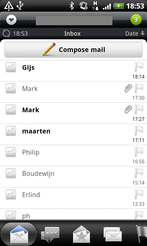Marking all messages as read in HTC Mail app - Step 01